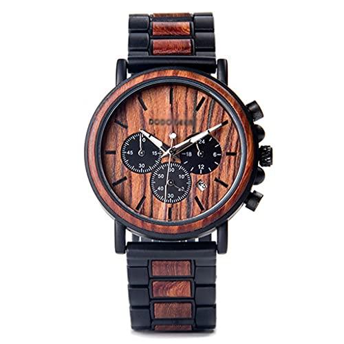 Gnaixyc Reloj De Pulsera para Hombre De Madera Y Acero Inoxidable, con Cronógrafo Y Calendario,B