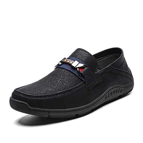 Men Loafers Lichtgewicht antislip ronde neus Flat lederen schoenen buiten lopen Ademende Casual Driving Moccasins jilisay