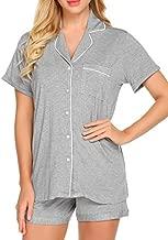 Ekouaer Sleepwear Women's Short Sleeve Pajamas with Pj Shorts Set,Grey,Medium