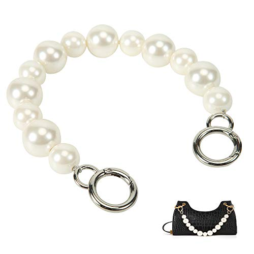 Xiazw Sturdy Large Imitation Pearl Bead Purse Handle Strap Bag Charms Handbag Chain Replacement Accessories Decoration (Off White with Silver Clasp)