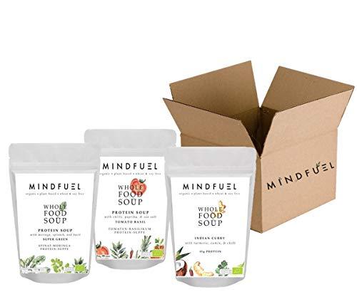 """MINDFUEL Soup """"Stay at Home"""" Box - Organische Bio-Suppen, Vegan, Laktose- und Glutenfrei (30 Portionen, 3 Geschmacksrichtungen)"""