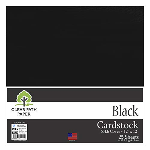 Black Cardstock - 12 x 12 inch - 65Lb Cover - 25 Sheets - Clear Path Paper