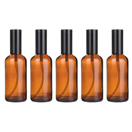 Yardwe Flacon Pulvérisateur en Verre Pack de 5 Flacons Vides en Verre Ambré Flacons de Sous-Emballage Liquide pour Huiles Essentielles Parfum Produits de Nettoyage Aromathérapie (Presse de 100 Ml)
