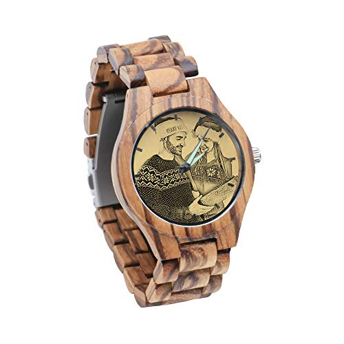 Reloj personalizado con foto de madera grabada NameWristband reloj retro personalizado cumpleaños día del padre ideas de aniversario para parejas, hombres y mujeres, Marrón2,...