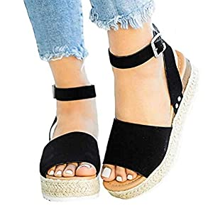Gibobby Sandals for Women Platform,Womens Flat Wedge Ankle Buckle Sandals with Strap Fashion Summer Beach Sandals Open Toe Espadrille