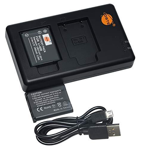 DSTE 2PCS LI-40B(1400mAh/3.7V) Batería Cargador Compatible para Olympus FE-160 FE-190 FE-220 FE-230...