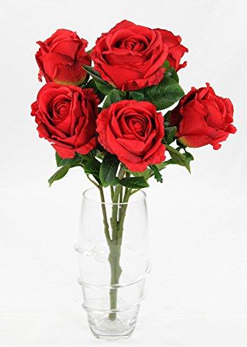 Kunstpflanze Rose - Strauß 54cm - 7 Blüten rot
