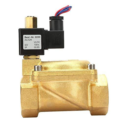 KANJJ-YU Válvula solenoide eléctrica G1-1/2, 0-1.6Mpa 232psi G1-1/2 normalmente abierta latón válvula solenoide eléctrica válvula de agua para agua aire (DC12V) válvula