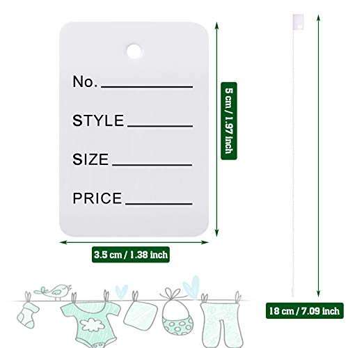 1000 Pieces Price Tags and Hang Tag String, Marking Tags Unstrung Coupon Tags Store Tags Clothing Tags and Nylon String Snap Lock Pin Loop Fastener Hook Ties for Clothes Retail Store (White) Photo #2