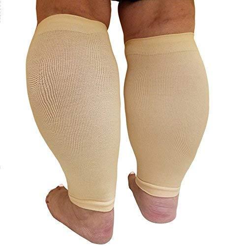 Mangas de compresión para pantorrilla extra anchas, calmante soporte degradado con cómodos puños, color carne.
