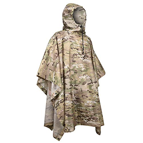 LOOGU Hooded Rain Poncho, Camo Military Emergency Raincoat for Adult Men & Women, Lightweight Quickly Dry Reusable Rain Gear for Camping, Fishing, Hunting, Sports Event