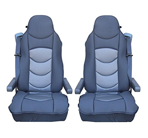 2x UNIVERSAL GREY PREMIUM COMFORT PADDED SEAT COVER CUSHION FOR TRUCK LORRY CAB