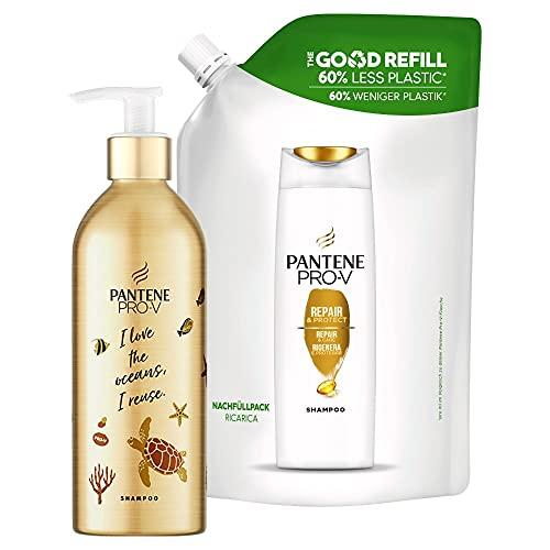 Pantene Pro-V Repair & Care Shampoo Für Geschädigtes Haar, Nachfüllbare Aluminiumflasche, Pumpspender, Haarpflege Trockenes Haar, Shampoo Damen, Haarpflege für Trockene Haare, 430 ml