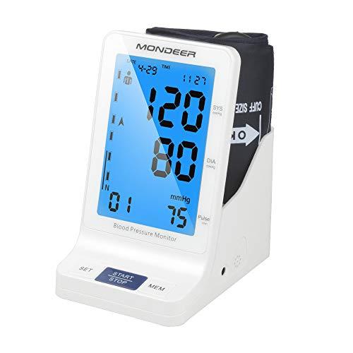 Mondeer Oberarm Blutdruckmessgerät,Digital Blutdruckmesser,Blutdruck- und Pulsmessung,Elektronisches Blutdruck Messgerät Mitgroßem Display