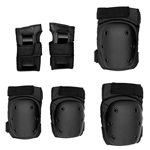yotijar - Juego de 6 rodillas para codo de muñeca, almohadilla de protección, para monopatín, bicicleta, skate, negro, L
