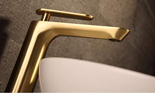 Rubeza Tall Leah Collection Basın Mıxer 111 2100TT - Grifo de cocina (acabado cepillado), color dorado