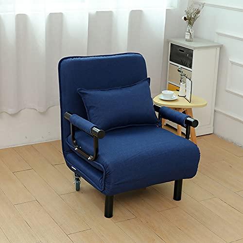 Wxnnx Silla de futón Plegable Individual 2 en 1, sofá Cama, Silla para Dormir para Invitados, Cama con Ruedas de Almohada para el hogar, Dormitorio, Sala de Estar,B