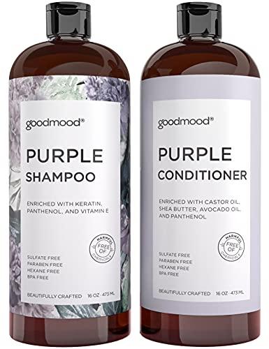 GoodMood Purple Shampoo and Conditioner Set For Blonde, Gray, Platinum Hair & Color Treated Hair, Paraben Free, 2x16oz