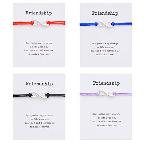 PIPITREE Friendship Bracelet Jewelry Charm Infinity Bracelet for Best Friends Red String Braided Wish Gift Card Bracelet(4Pcs)