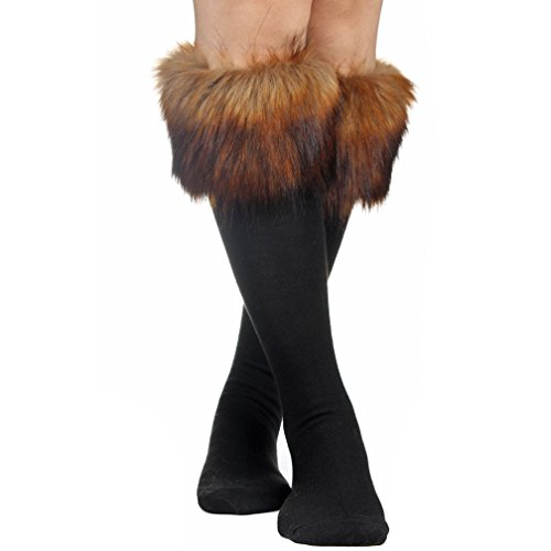 Mujeres Soft Cozy Fuzzy botas de pelo sintético calentadores de la pierna Calcetines cubierta puños - negro -