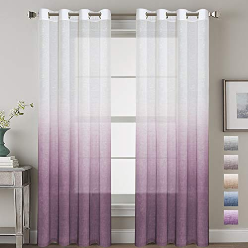 H.VERSAILTEX Linen Semi-Sheer Curtains Energy Efficient Privacy Protection Panels Ombre Natural Curtain Drapes with Tie-Back for Living Room, Grommet Top, Set of 2, 52x84-Inch, Plum