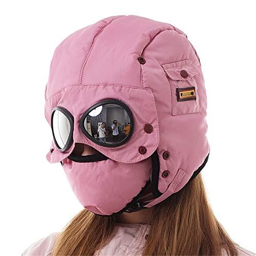 ZJDU Wintermütze Ski Cap, Pilotenmütze,Thermo-Fleece-Trapper-Mütze,Mit Earflap Gesichtsmaske,Mit Brille,Für Die Jagd Skifahren Wandern,Rosa