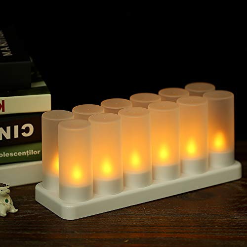 Galapara Led Kerzen Mit Fernbedienung, Flammenlose Kerzen Led Teelichter, 12er Led Kerzen, Kerzen Deko Wiederaufladbaren Gelben Flackernden Mit Mattierten Tassen Raumdekoration