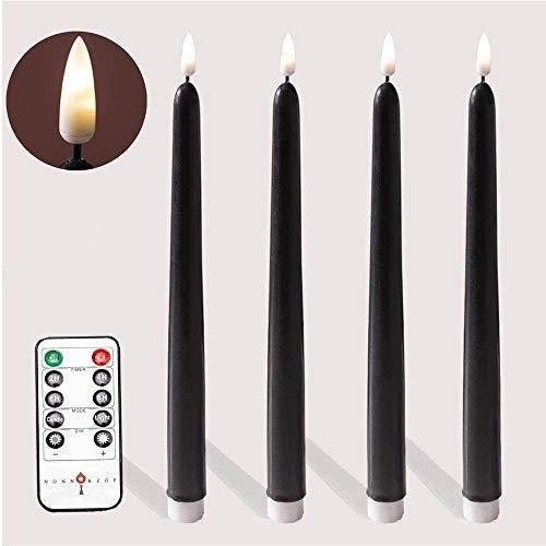 Halloween Remote Black Flameless Taper Candles.for Orange Pumpkin Lights LED Battery Operated.Halloween Jack.LED Battery Operated Halloween Decor Lantern Pumpkin Decoration.Warm White LED.Set of 4