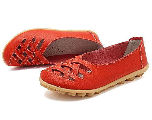 KEESKY Womens Ladies Leather Casual Cut Out Loafers Flat Slip-on Shoes Red Size 10