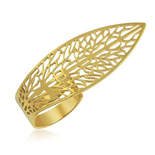 Breiter Ring Gold 375 585 925 Damen Goldring-verstellbar-Offen - 9K-14K-925er Gr 53-57 Zweifinger-Ring (14 Karat (585) Gelbgold, 53 (16.9))