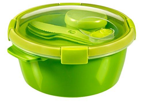 CURVER | Smart Lunch box ronde 1.6L avec couverts, Vert, Smart, 22x22x10,9 cm