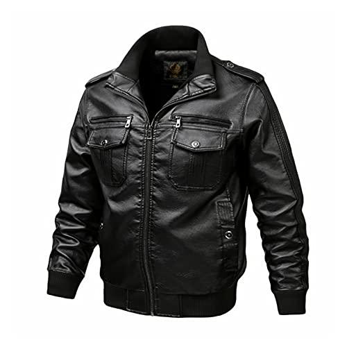 HUAJIE Chaqueta de cuero con cuello de pie para hombre, estilo casual, de piel sintética, para motocicleta, bombardero, abrigo con bolsillos con cremallera, estilo casual, negro, 6XL