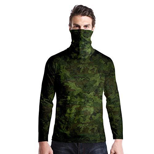 T-Shirt À Manches Longues,Casual Long Sleeve Imprimé Camouflage Vert Col Rond Unisex T-Shirt Tops Imprimé Chemisier Body Shirt avec Écharpe Hommes Femmes Automne Hiver Pullover Sweatshirt,As Pic