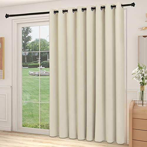 YIUMULA Blackout Sliding Glass Door Curtains, Thermal Insulated Window Treatment Drapes for Patio Doors, Grommet Extra Wide Curtain Panels for Living Room, Bedroom (1 Panel, Beige, 100W x 84L)