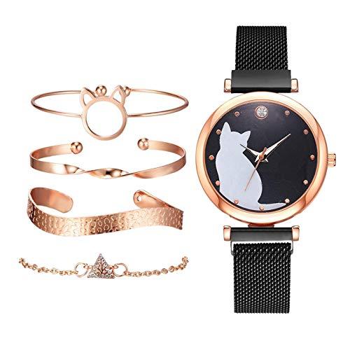 yotijar 5 Piezas/Juego de Relojes para Mujer, Juego de Pulsera de Oro Rosa, Relojes de Pulsera con...