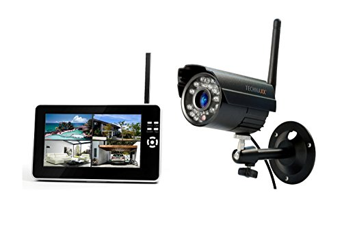 Technaxx Easy Überwachungskamera Set TX-28 mit Aufnahmefunktion 7 Zoll LCD-Display, CMOS Sensor, PIR Bewegungssensor