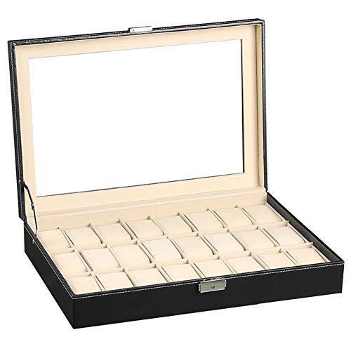 Macallen Grande Caja Relojes Para Hombre Relojero 24 Reloj Joyero Organizador Estuche Guardar Porta Reloj Almacenamiento Pu Piel Expositor Coleccion 24 Compartimentos Negro