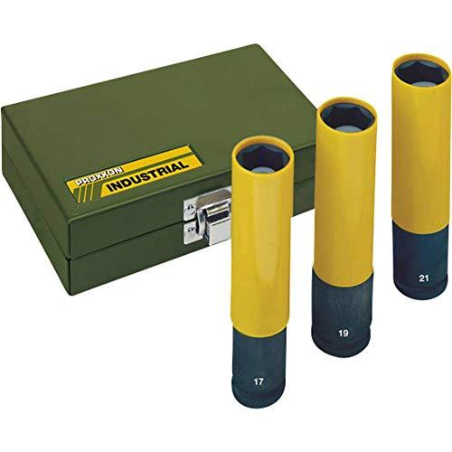 Proxxon 23970 Steckschlüsseleinsatz/Einsatzset IMPACT, extralang zum Einsatz mit Druckluftschraubern, extreme Verschleißfestigkeit, 1/2 Zoll, Länge: 130 mm, Durchmesser 17/19/21 mm, Drehmoment: 500 Nm