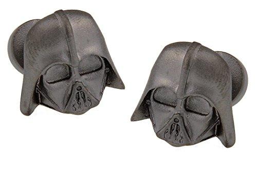 Manschettenknöpfe Star Wars Darth Vader 3D schwarz Imperial Logo Rückseite in Geschenkbox