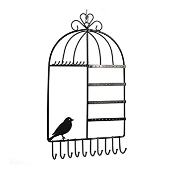 LUOEM Birdcage Jewelry Organizer Wall Mount Hanging Earring Necklace Holder Display Rack  Black