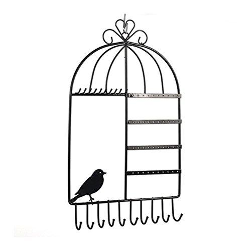LUOEM Porte Bijoux Mural Organisateur Cage à Oiseaux pour Boucles d'oreilles/Colliers/Bracelets (Noir)