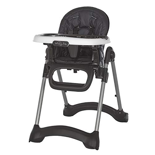 Dream On Me Solid Times High Chair | Compact & Sleek High Chair | Multiple Recline & Height Positions | Light Weight Portable Highchair, Black (243-BLK)