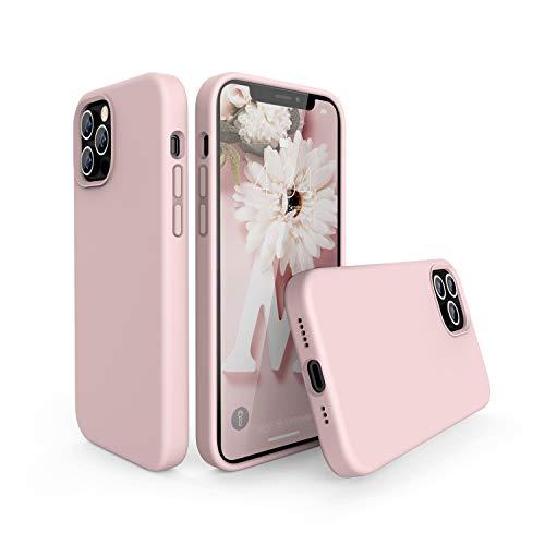 abitku Funda para iPhone 12/12 Pro Silicona Case, Funda Silicona líquida de Goma Compatible con iPhone 12/12 Pro (2020) 6.1 Pulgadas, Protección con Forro de Microfibra (Rosado)