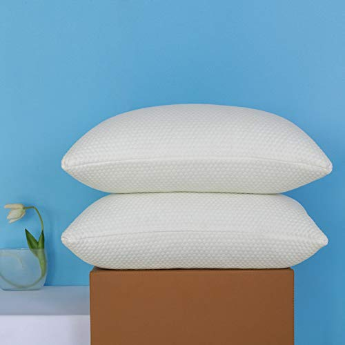 Molblly Queen Pillows 2 Pack Shredded Gel Memory Foam Bed Pillows for Sleeping Set of 2 Adjustable Cooling Memory Foam Pillow for sleeping Back and Side pillows and Washable Pillow Cover -Queen pillow