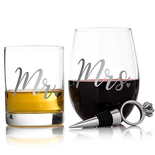 Livivo Set mit 2 Whisky- und Weingläsern für Sie und Ihn, lustige Getränkegläser – Farbige Box für Geschenke, perfektes Whisky- oder Spirituosgefäß