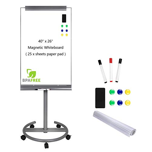 Magnetic Mobile Standing Whiteboard - 40 x 26 Inches Dry Erase White Board Tripod Whiteboard with Rolling Stand Flipchart Easel Height Adjustable by TSJ Office
