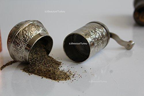 antik salzmühle, Salzmühle und Gewürzmühle, pfeffermühle, kaffeemühle, coffee grinder, pepper grinder (shiny silber)