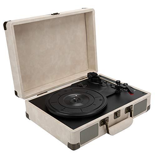 Giradischi Bluetooth con valigia, giradischi retrò portatile giradischi giradischi con altoparlante stereo, lettore di dischi LP a 3 velocità 33/45/78 giri / min, con jack per cuffie/Aux(bianco-UE)