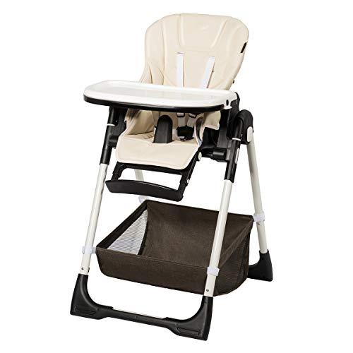 COSTWAY Baby Hochstuhl höhenverstellbar, Babyhochstuhl klappbar, Kinderhochstuhl rollbar, Babystuhl, Kombihochstuhl mit verstellbarer Rückenlehne und Fußablage, für Babys und Kleinkinder (Beige)