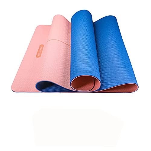 Yoga Mat Antideslizante Aptitud Física Colchoneta De Ejercicios Sra Profesional Yoga Mat Familia Colchoneta De Ejercicios Pilates Ejercicios De Suelo-183x66x0.6cm-Azul pálido